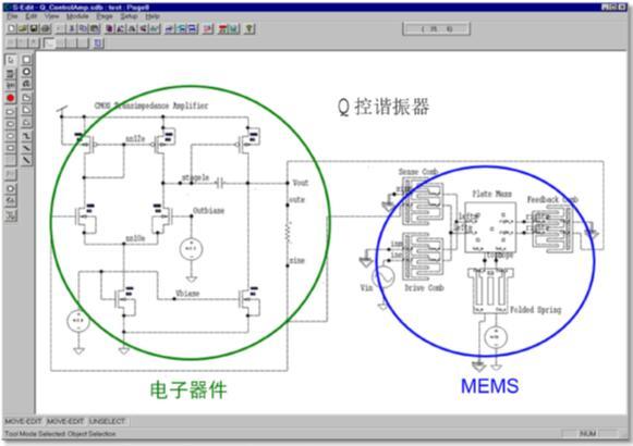 图4:电子器件和MEMS位于同一电路图上 • 为了支持初始MEMS/IC仿真,您可以在System Model Builder中利用SPICE或Verilog-A中的解析方程来创建MEMS模型。结合MEMS仿真库,您还可以在初始阶段就对整个设计进行是否符合预期的验证。 • 利用MEMS PCell库,您可以在L-Edit进行版图设计。此外,Library Palette(图5)提供了许多MEMS器件的基本版图生成器,您可以将其用作设计的初始模型。