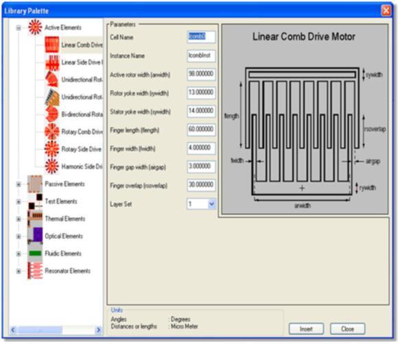 用于创建MEMS器件版图的Library Palette