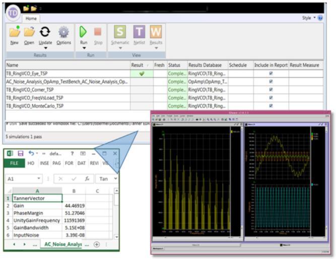 Tanner Designer仿真过程管理器,由Excel工作簿驱动