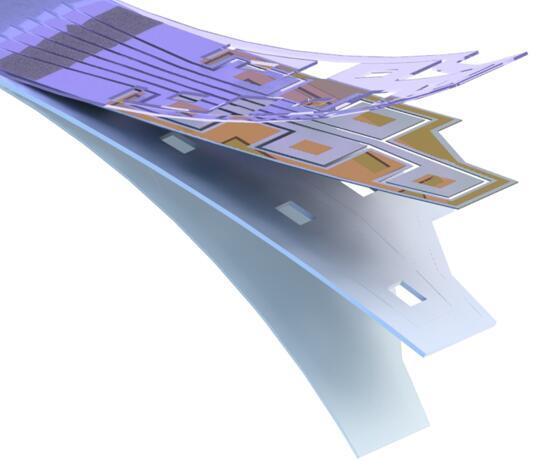 通过无机激光剥离技术制造的柔性给药微器件的示意图