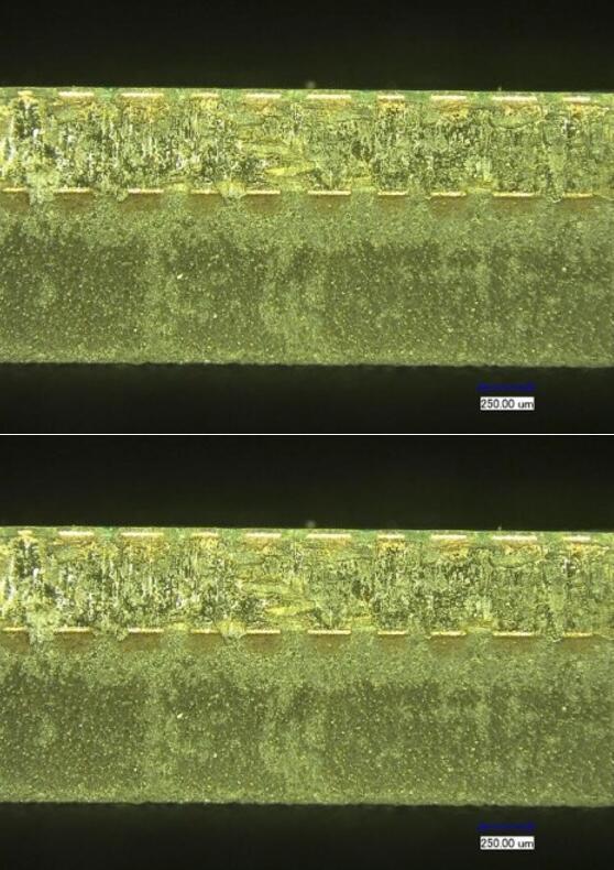 用皮秒(上图)与纳秒(下图)切割的1.2mm厚SiP材料的横截面示意图