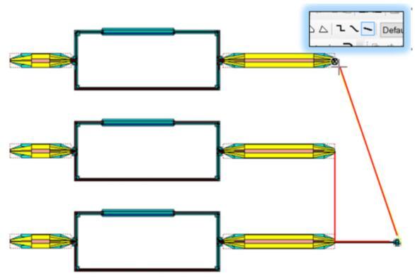运用L-Edit All Angle Wire工具,设计人员用飞线连接端口