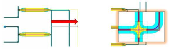 在L-Edit中,设计人员调整波导路径并分析或引入交叉