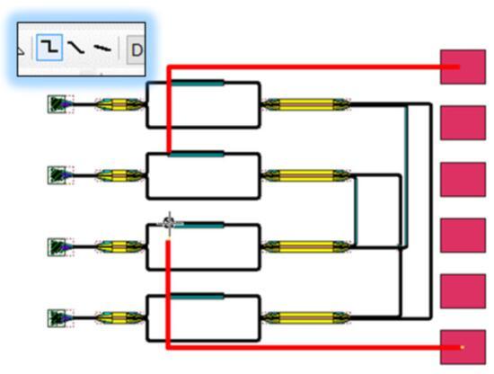 设计人员增加焊盘,并利用L-Edit Orthogonal Wire工具连接焊盘
