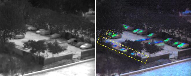 隐藏在树下和墙边的车辆在偏振图像中被凸显出来