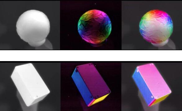 图中左侧为红外强度图像,中间和右侧为采用两种融合方案的偏振图像