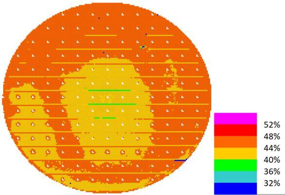 睿熙科技最新一代3D结构光VCSEL 6英寸晶圆上的PCE分布图