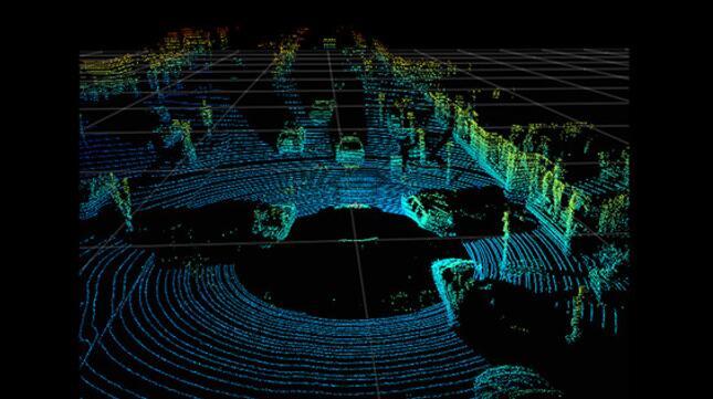 自动驾驶汽车的激光雷达测量图