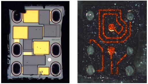 芯片(左)与基板(右)分离后的光学照片