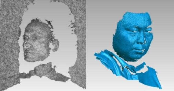 左图为Ensenso拍摄的人像,右图为Argus100拍摄的人像(同样距离下)