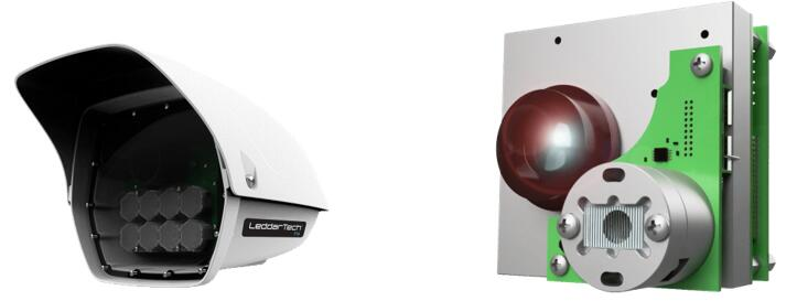 Leddar T16交通传感器(左),Leddar M16-LSR 智能交通LiDAR模组(右)