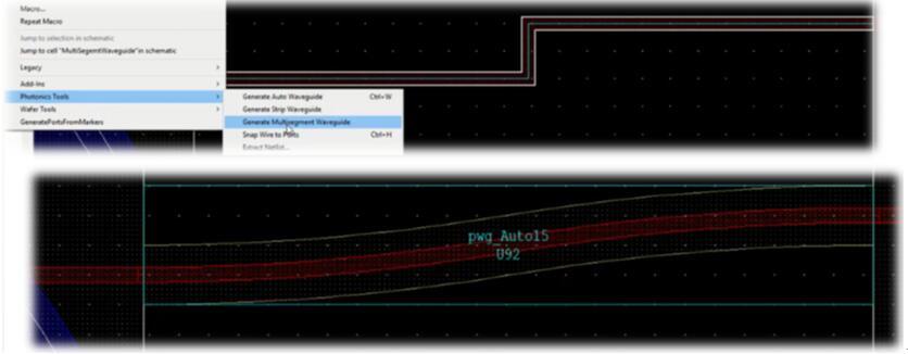 在L-Edit Photonics中创建波导的过程包括两步:首先,创建连接两个元器件的正交布线。然后,通过按下热键,即可根据工艺将该布线转换成具有适当曲率的波导
