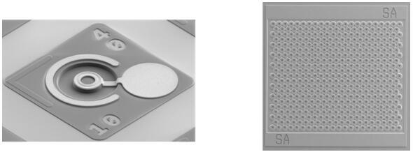 左图为一款典型的高速单芯片VCSEL,右图为一款典型的高功率VCSEL阵列