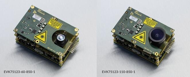 ToF芯片组评估套件EVK75123(左:60°FOV,右:110°FOV)