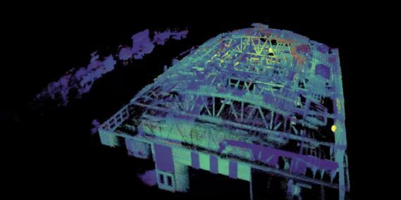 在商用无人机上搭载Ouster激光雷达的室内3D扫描图