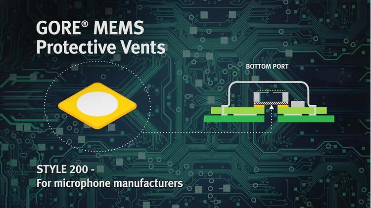 Style 200可以在封装工艺中安装在MEMS麦克风内部,无需任何特殊处理便能在电路板装配工艺中提供颗粒物保护