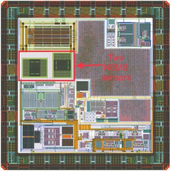MEMS传感器的芯片布局,其中NEMS结构部分用红框标注