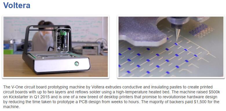 Voltera V-One:印刷电路板3D打印机