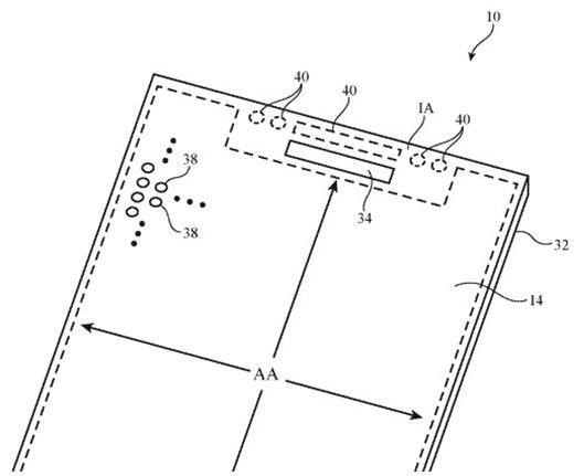 """上图是对""""示例设备""""的说明,表明该应用适用于TrueDepth摄像头,可能也适用于副显示传感器阵列"""