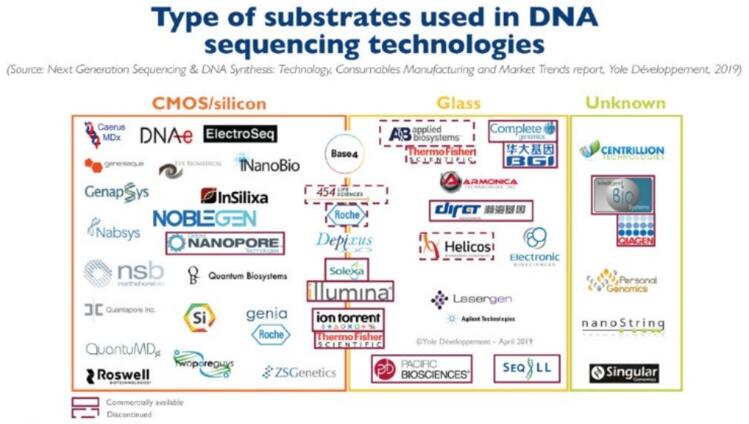 DNA测序技术中使用的衬底类型