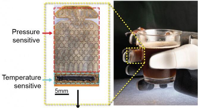 """布满传感器的""""电子皮肤""""可以为仿生机器提供更好的触感"""