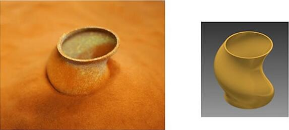 根据CAD模型(右),使用岛津的BLUE IMPACT二极管激光器3D打印一个纯铜物体(左)