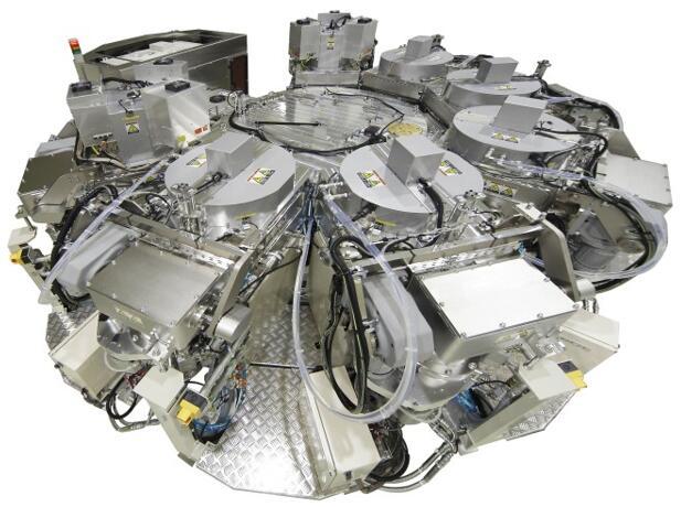 8腔体结构的俯视图(7个工艺腔和1个load-lock腔)