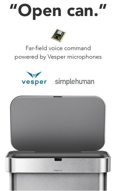 Vesper压电式MEMS麦克风为simplehuman智能垃圾桶提供声控功能
