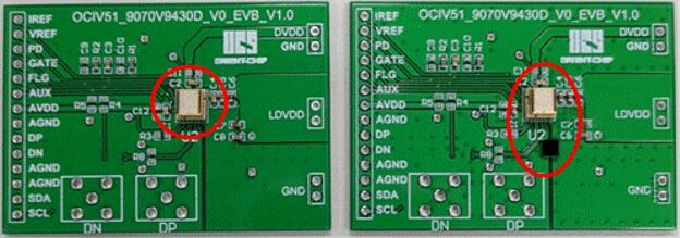 左为灿瑞科技OCIV系列ToF整合驱动IC封装方案,右为传统ToF发射端封装外加驱动IC