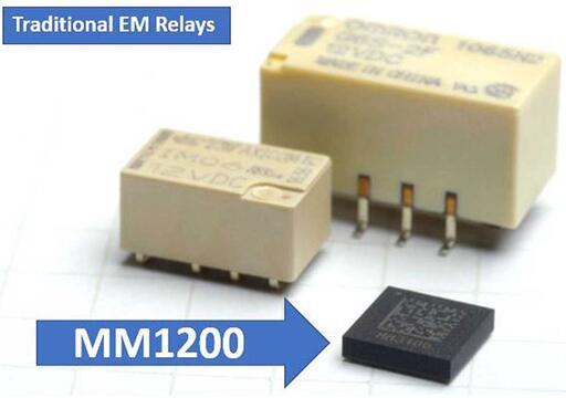 Menlo Micro推出的MEMS继电器MM1200与传统继电器尺寸对比