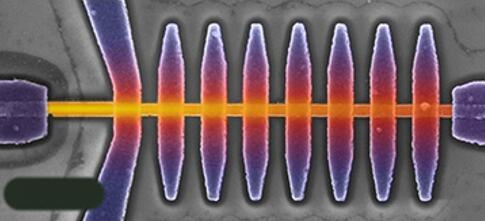 纳米级微测辐射热计的伪彩色图像,作为对比,左下角的黑条是曼尼罗尼丝菌的大小(约1.3 μm)。