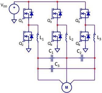 典型的带滤波器的三相电机驱动