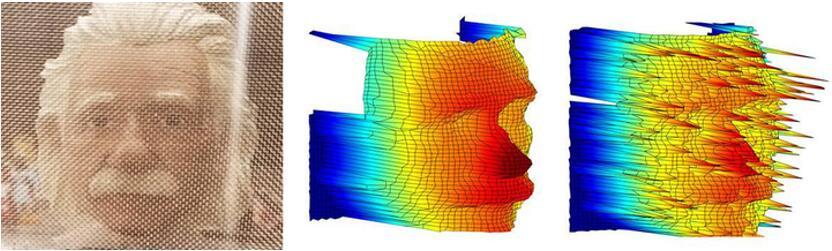 即便使用网筛覆盖对象(左图),史蒂文斯理工学院开发的量子3D成像技术生成的图像(中图)仍能比当前技术(右图)清晰40000倍。