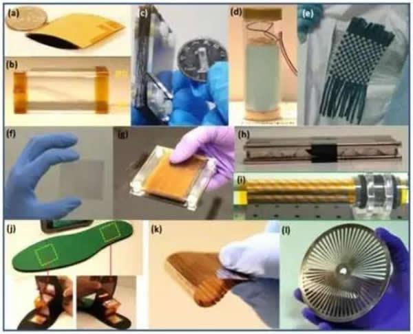 收集各种不同形式机械能的摩擦纳米发电机实物照片