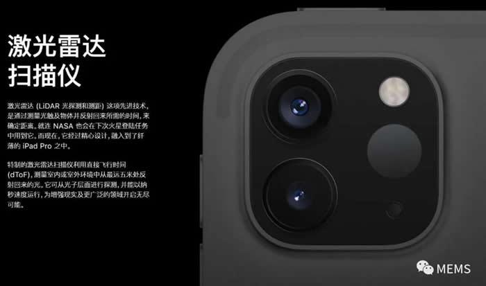 苹果官网展示的新款iPad Pro激光雷达扫描仪(以下简称:激光雷达)