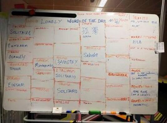 """比利时团队创建的清单——每日单词""""LONELY""""被翻译成多种语言"""