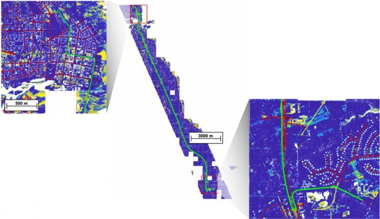 在上方的激光雷达地图中,人工智能算法识别出了道路