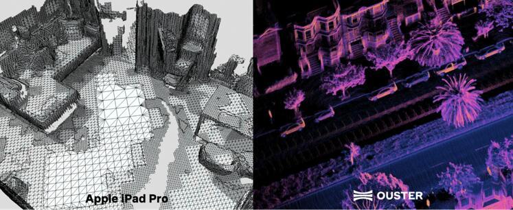 左图,iPad Pro室内测绘图;右图,Ouster新款128线激光雷达OS1-128生成的高分辨率即时定位与地图构建(SLAM)图