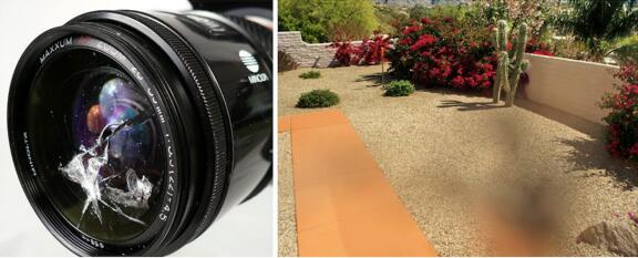 相机镜头被部分遮蔽,相对较大的光圈可以通过光线,对成像产生部分影响