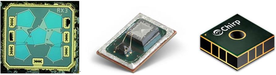典型薄膜型压电器件:Avago FBAR芯片(左)、Vesper压电式MEMS麦克风(中)、TDK超声波飞行时间(ToF)传感器(右)