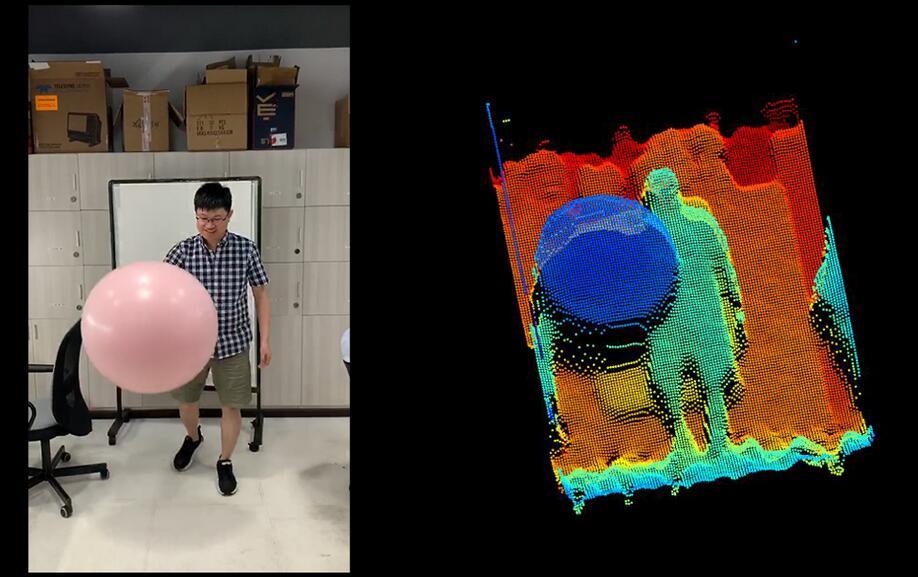 灵眀光子dToF模组拍摄运动场景的实时点云图