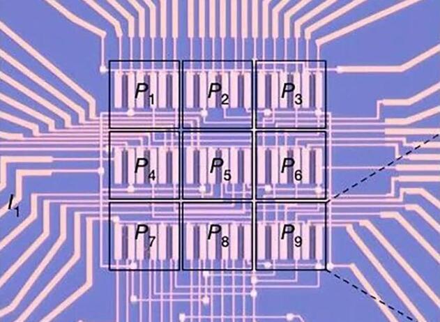 光电二极管排列成九像素正方形阵列