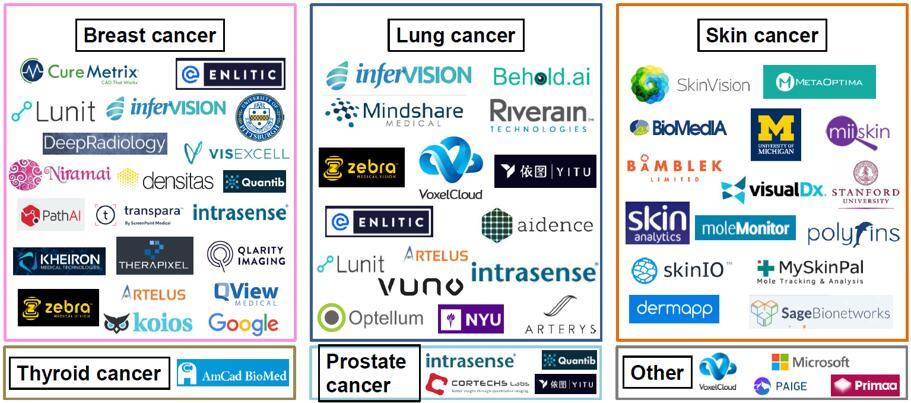 癌症诊断人工智能领域的重点厂商