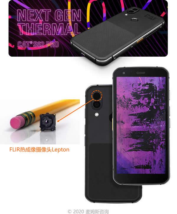 卡特彼勒(CAT)S62 Pro手机集成FLIR热成像摄像头Lepton