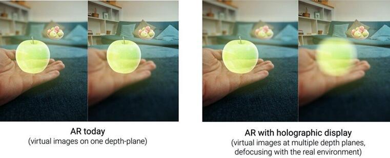 使用VividQ软件生成的全息投影,模拟在一个深度平面和多个深度平面生成的所有虚拟图像以匹配实际环境
