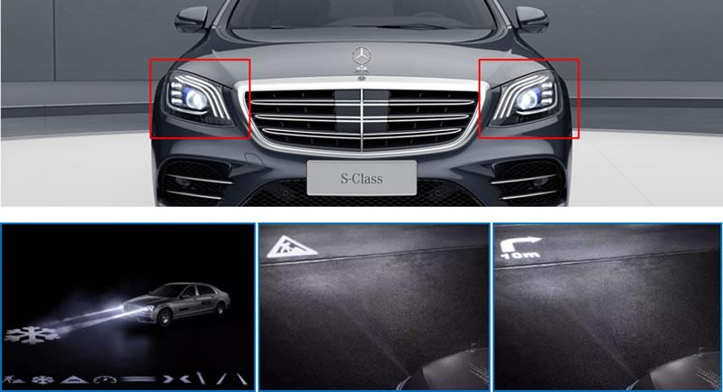 奔驰S级轿车的先进数字大灯利用数字微镜器件实现图像投影