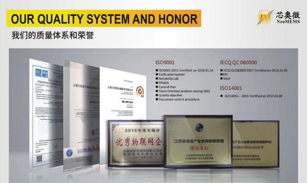 芯奥微的质量体系和荣誉