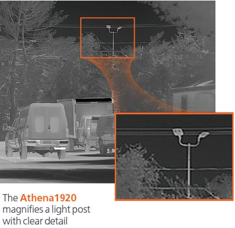 Athena 1920热成像机芯利用细节成像放大了远处的路灯