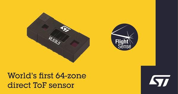 意法半导体发布全球首款64区dToF传感器模组,提供超清晰场景空间细节