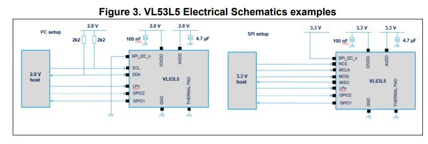 dToF传感器模组VL53L5的电路图样例